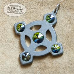 Přívěšek Keltský křížek smaragdový
