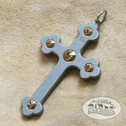 Přívěšek Klínový kříž smaragdový